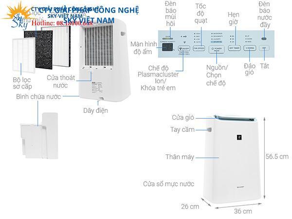 Máy tạo PCI, lọc khí và hút ẩm Sharp DW-E16FA-W