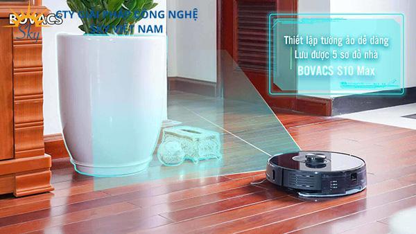 Tính năng thiết lập tường ảo, ghi nhớ 5 sơ đồ nhà của robot hút bụi Bovacs S10 Max