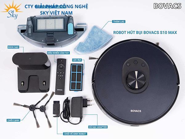 Robot hút bụi Bovacs S10 Max được trang bị đầy đủ các phụ kiện chính hãng
