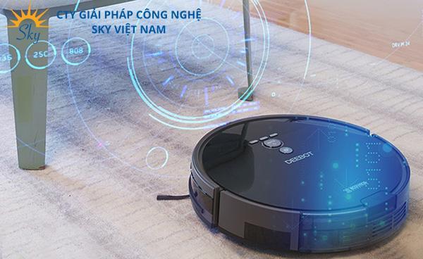 Robot hút bụi lau nhà thông minh có hệ thống cảm biến chống vật cản